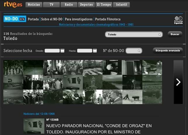 La web de RTVE descubre más de cien documentales y noticiarios de Toledo