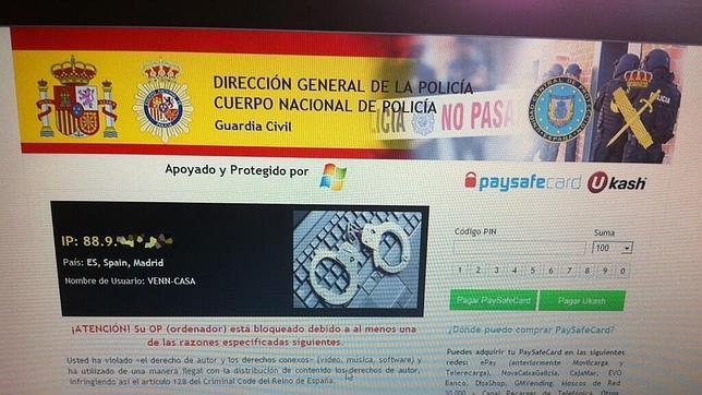 Atención al virus informático de moda: «Policía Nacional, páguenos 100 euros»