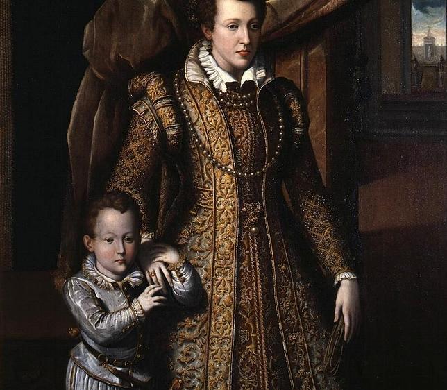 El pequeño Don Filippino, con su madre Juana de Austria, en un retrato póstumo