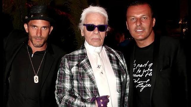 Sebastien Jondeau junto a Karl Lagerfeld y Jean Roch en St. Tropez el pasado sábado