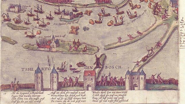 Grabado de la Batalla de Empel, en diciembre de 1585, por Frans Hogenberg y Georg Braun