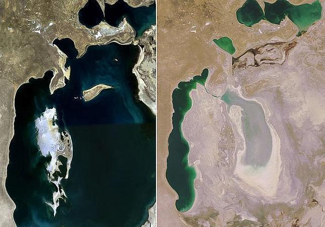 Vistas satelitales del mar de Aral en 1989 y en 2008