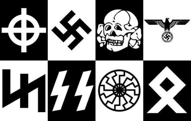 Algunos símbolos neonazis: la cruz célta, la esvástica, la «totenkopf», el aguila del NSDAP, el Wolfsangel o «gancho para lobos», las SS, el Sol Negro y la runa «odal»