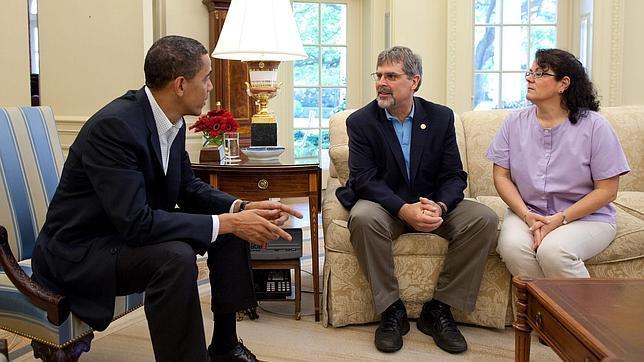 Richard Phillips, en su encuentro con Obama en mayo de 2009