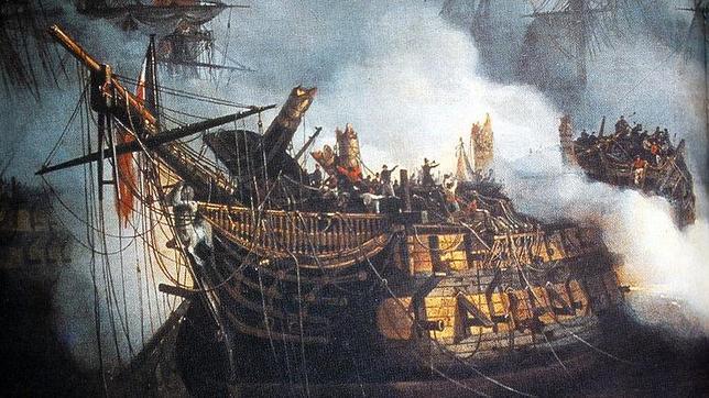 El «Bucentaure», el navío comandado por francés Villeneuve en la Batalla de Trafalgar, pintado por Auguste Mayer