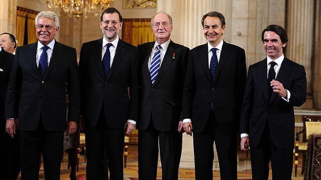 El Rey con cuatro de los seis presidentes con los que compartió la tarea de liderar España
