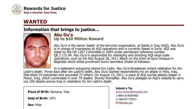 Fotografía emitida por EE.UU. de Abu Bakr al-Baghdadi