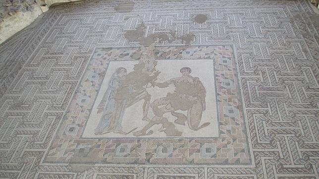 Uno de los mosaicos que pueden verse en la Casa de Materno, en Carranque (Toledo)