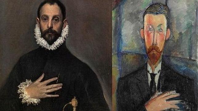 El Greco (El caballero de la mano en el pecho) reflejado en Modigliani, a la derecha