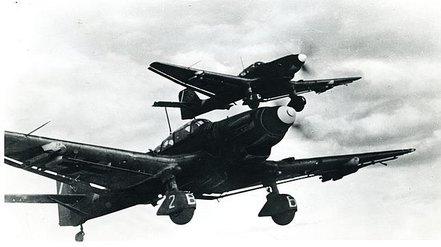 Dos stukas alemanes, los aviones de combate que empleaba la Luftwaffe