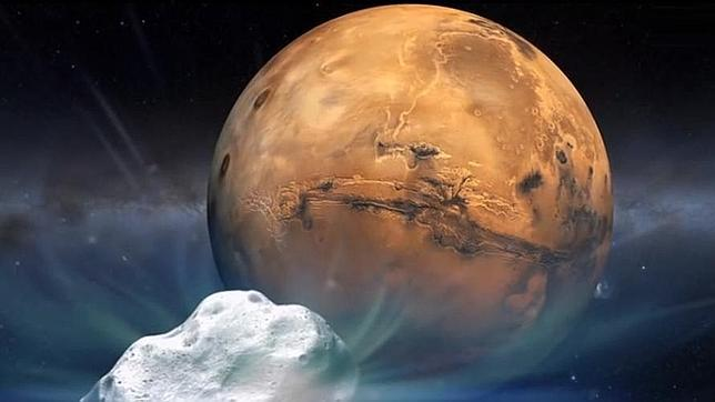 Recreación artística del cometa Siding Spring en su viaje hacia Marte