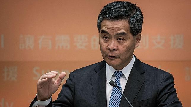 CY Leung, máxima autoridad política de Hong Kong, durante una rueda de prensa