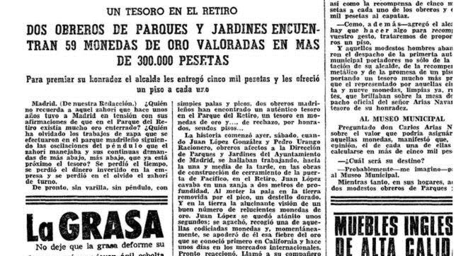 Noticia de ABC, en marzo de 1968, sobre el hallazgo de 59 monedas de oro en El Retiro
