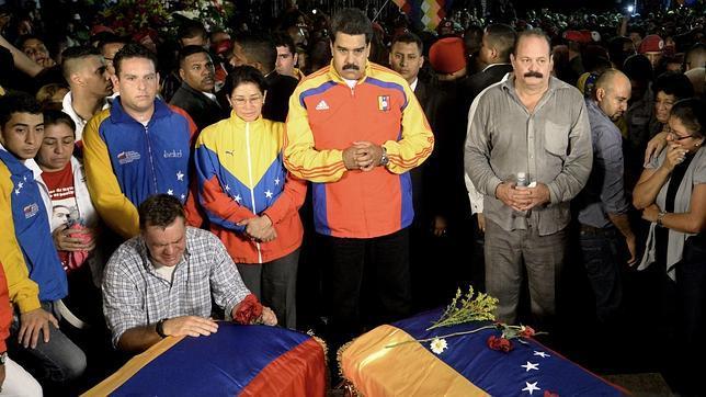 Nicolás Maduro, durante el funeral por Robert Serra y su asistente, María Herrera, el pasado viernes en Caracas
