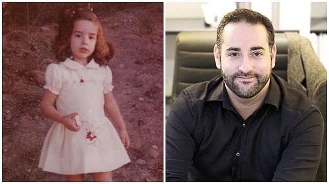 Gabriel, cuando era Patricia de niño y en la actualidad