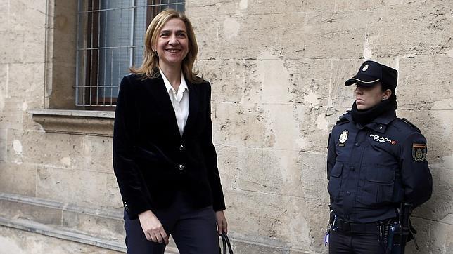Doña Cristina, el pasado 8 de feberero, cuando acudió a declarar ante el Juzgado de Palma de Mallorca