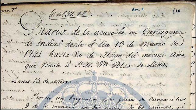 Primeras líneas del diario de D. Blas de Lezo, conservado en el Museo Naval de Madrid