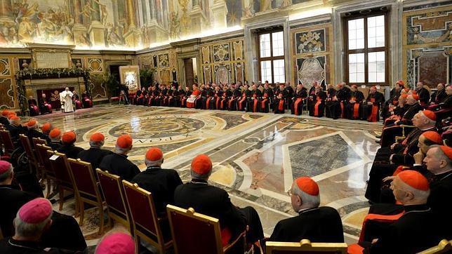 El Papa, este lunes, durante su discurso de Navidad a la Curia