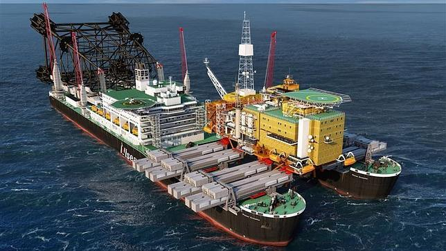 El «Pieter Schelte», idead para montar y desmontar plataformas petrolíferas