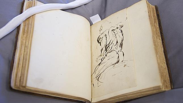 Uno de los dos dibujos de Rubens que contiene un cuaderno donado por Juan Bordes al Prado