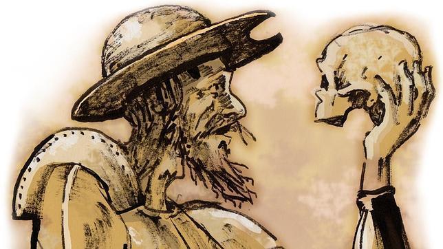 Don Quijote de la Mancha sujeta una calavera