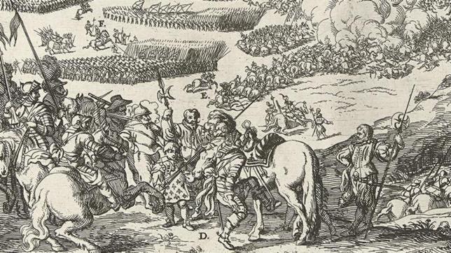 Grabado del siglo XVI que muestra a Alejandro Farnesio preparándose para dirigir la carga de la caballería