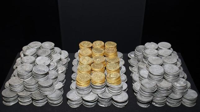 Detalle de las monedas rescatadas del pecio de la fragata Mercedes de la armada española