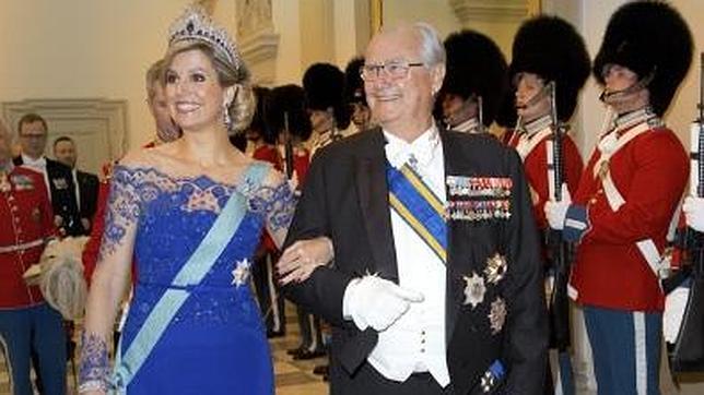 La Reina Máxima de los Países Bajos durante la cena de gala en Copenhague