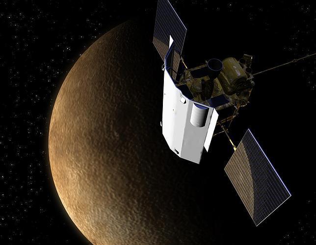 Recreación de la sonda Messenger en la órbita de Mercurio