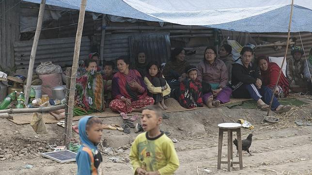 Afectados por el terremoto en Katmandú