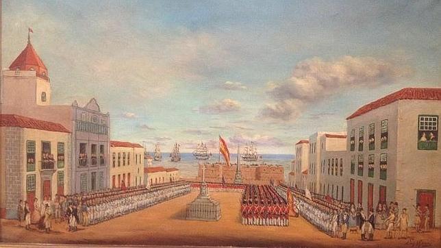 Pintura al óleo que retrata la capitulación de los ingleses en Tenerife