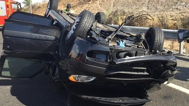 Estado en el que ha quedado el vehículo de la mujer fallecida en San Fernando de Henares