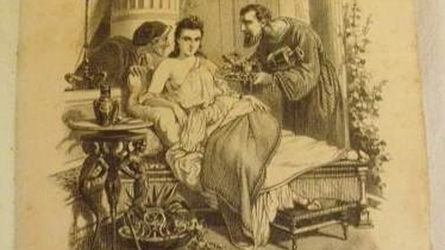 Grabado sobre la prostitución en la antigüedad