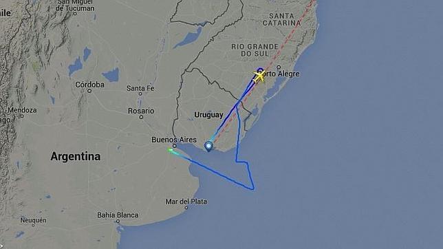 La ruta seguida por el vuelo desviado