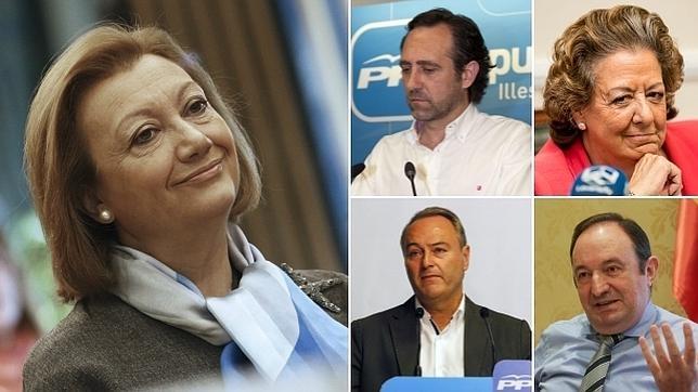 De izq. a dcha., Luisa Fernanda Rudi, José Ramón Bauzá, Rita Barberá, Alberto Fabra y Pedro Sanz