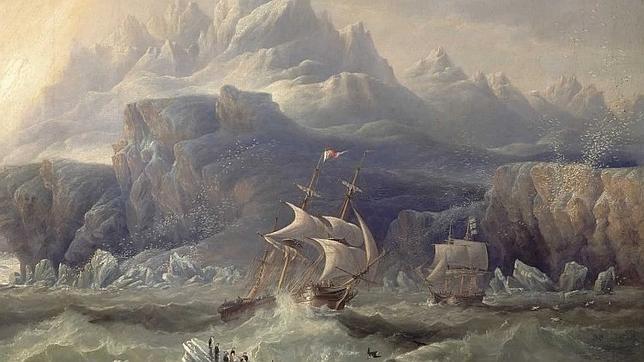 Cuadro que representa la tragedia de la expedición de Franklin