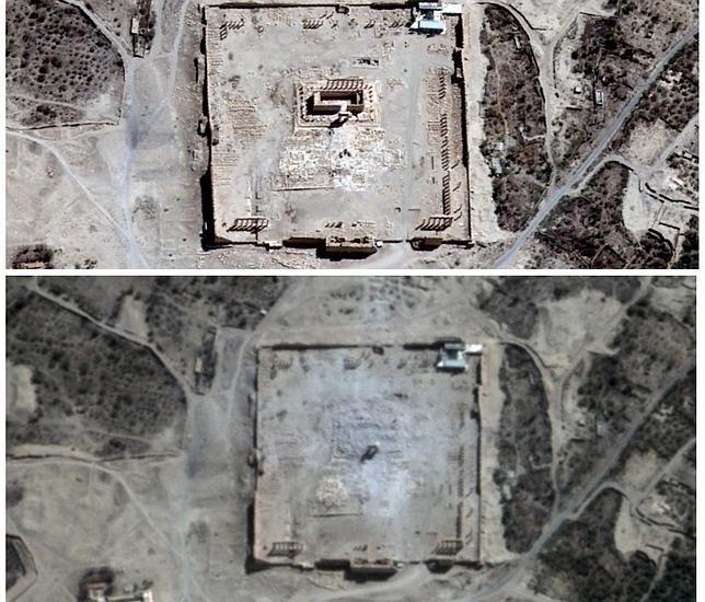 Imagen del templo de Bel totalmente destruido tras el paso de los terroristas de EI