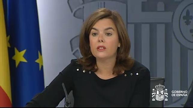 La vicepresidenta del Gobierno durante la rueda de prensa posterior al Consejo de Ministros