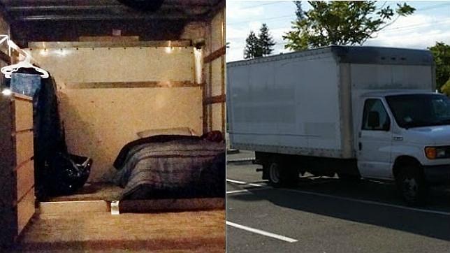 Imagen de la furgoneta y el interior de la misma en la que vive el joven empleado de Google