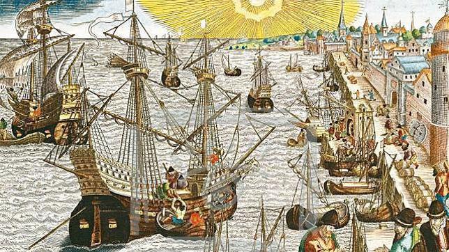 Ilustración que muestra un galeón del siglo XVI