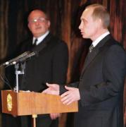Putin dirigió unas palabras al personal del Bolshoi en su 225 aniversario. Epa