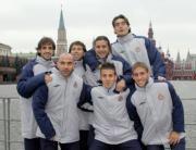 AFP  Los jugadores del Espanyol aprovecharon su visita a Moscú para realizar turismo.  En la imagen, varios jugadores posan en la Plaza Roja