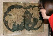 La copia del mapa presentada ayer en Pekín en la que aparece con un detalle asombroso para la época los perfiles de América