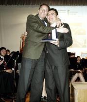 MIKEL PONCE  Giner, con el director de la Banda Municipal de Valencia