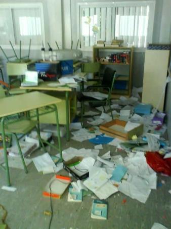 Causan graves daños en el colegio de Villaluenga