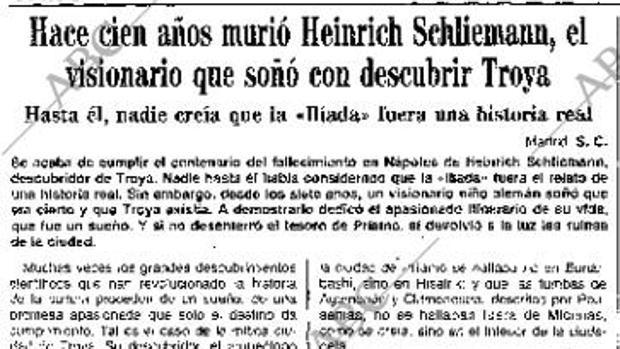 Artículo sobre el célebre arqueólogo que en el siglo XIX descubrió Troya