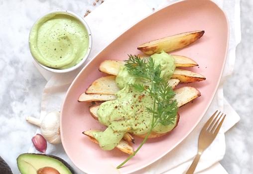 Potatoes with avocado aioli.