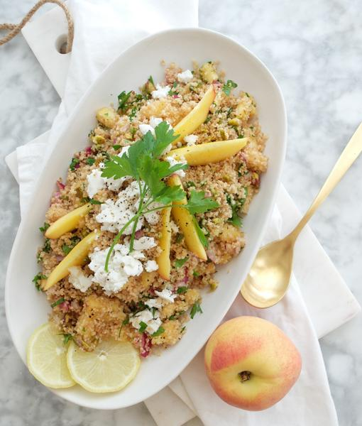 Peach, cheese and pistachio couscous.