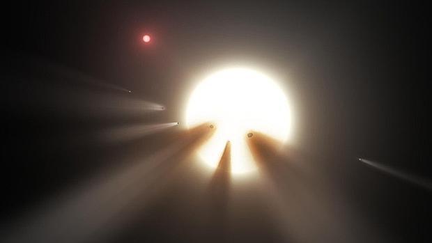Un grupo de cometas frente a una estrella