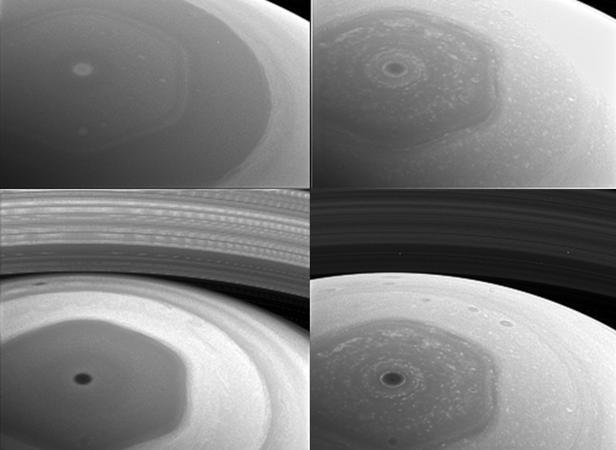 Fotografías tomadas por Cassini apenas dos días antes de hacer su máxima aproximación a los anillos interiores de Saturno. Cada cuadro corresponde a una longitud de onda distinta, y a una altitud diferente de la atmósfera